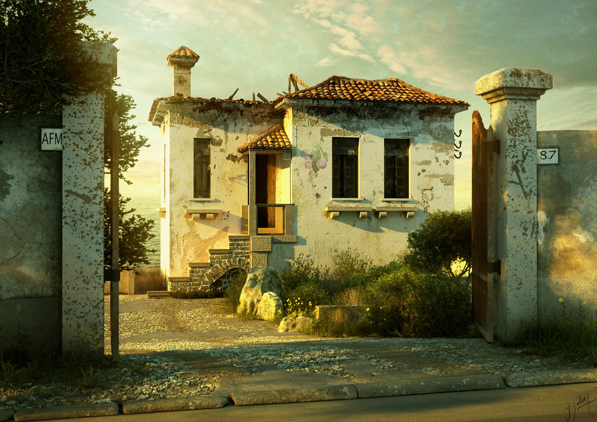 Xfrog architectural stages of light sunset for Italian villa architecture