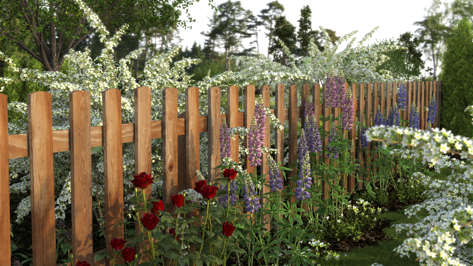 xfrog beautiful flowers garden fence