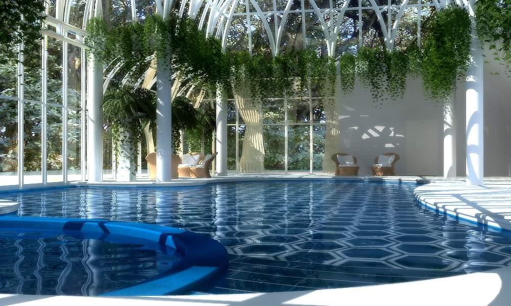 Xfrog   Houseplants   Indoor Pool with Hanging Ferns